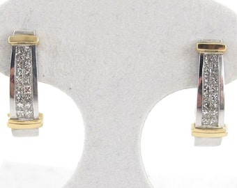 14k Yellow And White Gold Diamond Earrings 0.50 carat - Two Tone Huggies