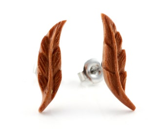 """Hand Carved- """"Feather"""" - Sabo Wood Stud Earring - Urban Star Original"""