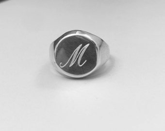 Sterling Silver Ring, Signet men ring, Initial ring, Gift for her / him, letter Ring, silver Pinky ring,silver engraved ring, silver ring