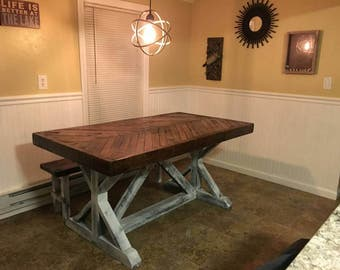 Rustic Chevron Top Trestle Base Table (Reclaimed Wood)
