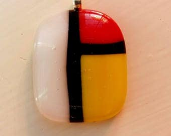 Mondrian Inspired Fused Glass Pedant