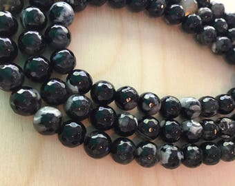 Black and Grey Agate Beads 10mm