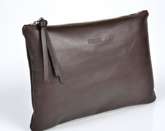Brown Leather Clutch with Ruby Satin Lining