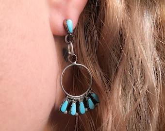 Turquoise Zuni Inlay Sterling Silver Dangle Earrrings, Boho Earrings