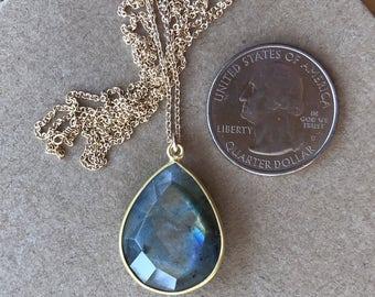 Large Pear Labradorite Bezel Necklace