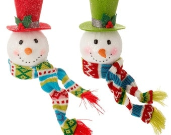 7.5 inch Raz Snowman Head Scarf 3516516, Snowman Head Ornament, Lime Raz Snowman Head Ornament, Red Raz Snowman Head 3516516