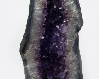 Amethyst Druze, no. 234, dark violet crystals, extra quality, polished agate edge