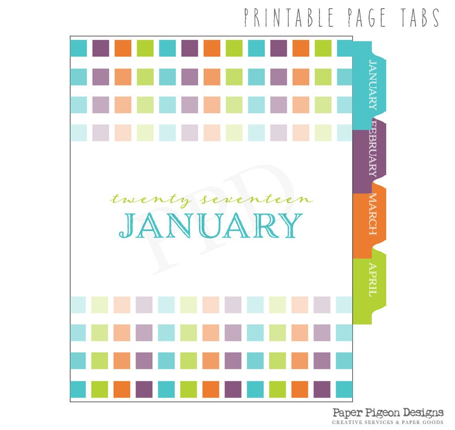 Daily Planner Tabs-All Size Printable Planner Tabs-Monthly