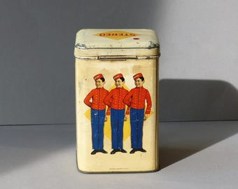 Vintage tin, Dutch can, piccolo figures, decoratif display, rusk, crispbread, biscuits Stereo 1936