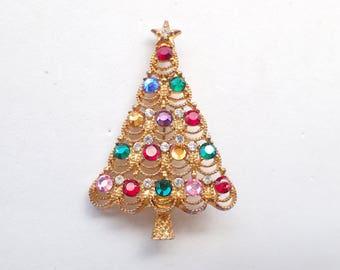Eisenberg Ice Christmas tree brooch figural AB139