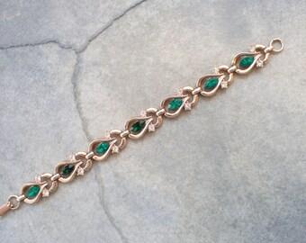 Signed Trifari link bracelet emerald green rhinestones AB557
