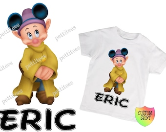 7 Dwarfs Dopey Disney Vacation Birthday Shirt Custom Tshirt  p230