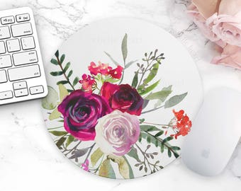 Floral Mouse Pad, Rose Mouse Pad, Cute Desk Accessories, Office Decor, For Her, Floral Mousepad, Cubicle Accessories, White Mouse Pad