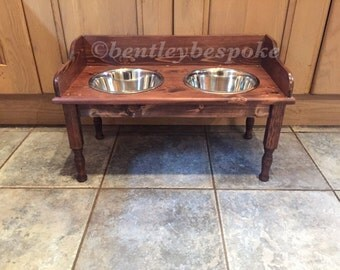 Tall raised dog food bowls feeding stand wooden