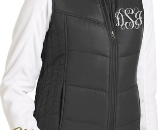 Monogram Puffy Vest-Ladies Vest -Quilted Puffy Vest -Gift for Her -Ladies Quilted Vest -Ladies Black Vest -Personalized Vest -Plus Size Vest