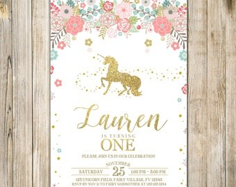 Rustic UNICORN FIRST BIRTHDAY Invitation, Blush Pink Mint Gold Magical Unicorn 1st Birthday Invite, Mythical Fairytale Girl One Birthday