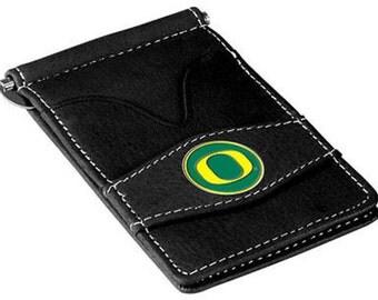 Oregon Ducks Black Leather Wallet Card Holder