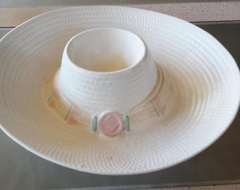 Vintage Western Hat Bowl Chip and Dip Serving Bowl Pottery by Treasure Craft USA