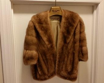 Strawbridge and Clothiers Genuine Mink Stole Cape Palomino Color