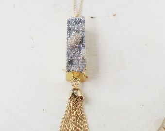 Champagne rectangular druzy pendant necklace with gold chain tassel