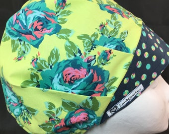 Eternal Sunshine Surgical Cap Scrub Hats Medical Nurse Tech Surgeon Surgery Caps Bonnet OR Bouffant Navy Blue Amy Butler LoveNstitchies