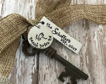 New Home Last Name Established  2016 Antique Skeleton Key Ornament - Mr and Mrs - Newlyweds - 1st Christmas - First Home - 1st Home -