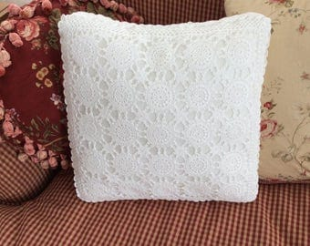 Hand Crochet Cotton White Lace Vintage Square Pillow Mother's Day