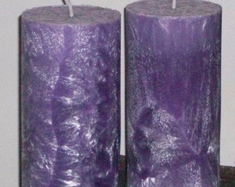 Set of 2 Purple 3x6 Pillar Candles ~ Nag Champa Patchouli Sandalwood Lavender