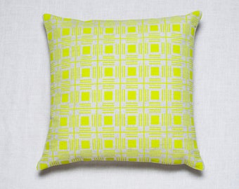 Yellow Printed Pillow / Cushion Cover /Home Pillows / Modern Pillow / Decorative Pillow / Hand Screen Printed / Pattern Design / Home Decor