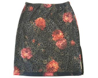 Sheer Leopard Print Rose Skirt