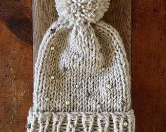 Beaded knit hat