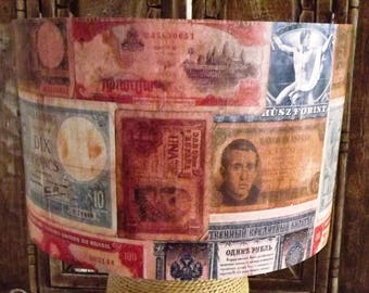 Vintage Money Lampshade ,light shade, old money foreign currency, Free Gift, Fatta da Mamma