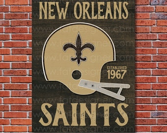 New Orleans Saints - Vintage Helmet - Art Print - Perfect for Mancave