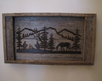 Rustic Western Wood-burning silhouette