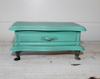 Vintage Turquoise Mini Wooden Jewelry Box Claw Feet Tiffany Blue Inspired Custom Paint Color