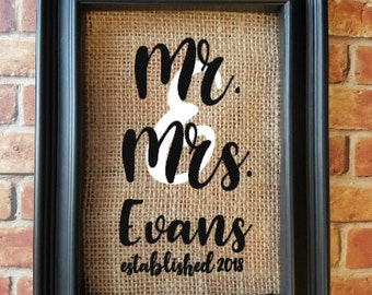 Mr. & Mrs. Personalized Burlap Frame - Wedding Gift - Engagement Gift - Couple's Gift - Newlywed Gift - Anniversary Gift - Mr and Mr and Mrs