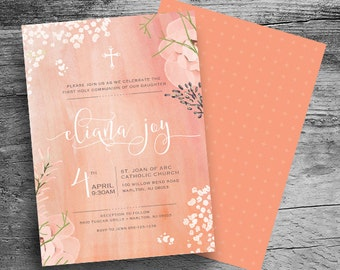 Religious GIRL Invitation - Baptism - First Holy Communion - Confirmation - Watercolor Religious Invitation - Printable File - 5x7 - Peach