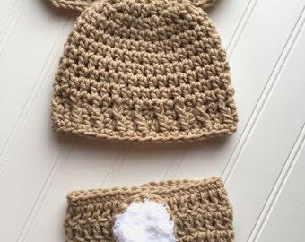 Newborn deer antler hat, crochet baby hat, deer antler hat, deer antler beanie, baby girl deer  hat, baby crochet hat, newborn crochet hat.