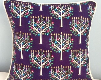 Hanukkah pillow. Menorah. 16x16 throw pillow cover. Holiday decor. Festival of Lights. Chanukah. Blue and  white throw pillow cover.