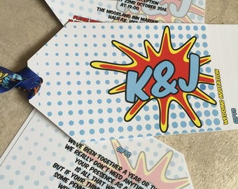 Pop Art | Comic Strip | Luggage/Swing Tag | Chequebook Wedding Invitations