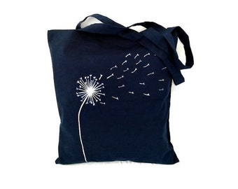 Dandelion Bag, Dandelion Tote Bag, Dandelion Wishes, Navy Tote Bag, Navy Bag, Navy Shopping Bag, Dandelion Gift, Reusable Bag, Reusable Tote
