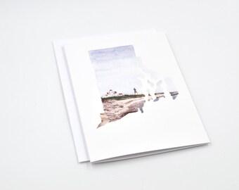 Rhode Island State Art Card - Watercolor Notecard - Rhode Island Gift - Rhode Island - Blank Notecards - Lighthouse Art - Rhode Island Art