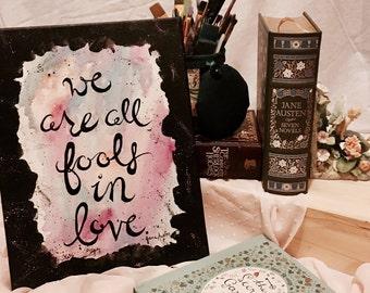 Jane Austen Canvas - 11x14 - Jane Austen Quote - Quote Art - Original Art - Canvas Painting - Typography Art