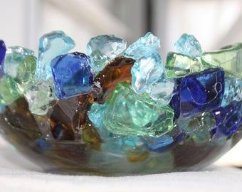 Sea Glass Bowl, Beach Glass Bowl, Beach Bowl, Sea Glass Decor, Beach Decor, Coastal Decor, Nautical Decor