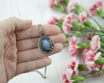 Eleanor - Alathea Series - unique handcrafted blue labradorite necklace with wire wrapped detail, wire wrap, vintage, rustic, gift for her