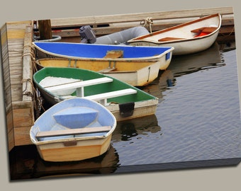 Rowboats at Dock Gallery Wrap Canvas Photo Print Fine Wall Art, Cape Cod Blue Water Green Row Boat Fishing Boating Ocean Summer Nautical