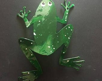 Hand Painted metal frog yard art garden decor.