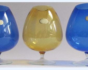 3 x Vintage Blown Glass Brandy Goblets GDR Lauscha Retro Drinks Bar 60's