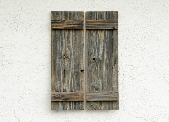 Rustic Door Shutters. Small. Set Of 2. Wooden Shutters. Barn