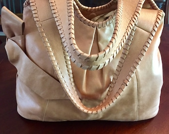 Gorgeous Large Genuine Leather 1990's Shoulder Bag, Tan Leather Bag With Leather Bow, Hobo Bag, Talbots Brand, CLEAN.